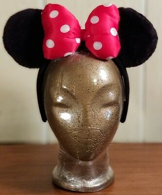 DISNEY PARKS MINNIE MOUSE EARS HEADBAND--BLACK PLUSH RED BOW-Youth