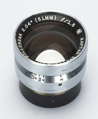 "Fast Wollensak Raptar 51mm 2.04"" f/1.5 Military Lens"