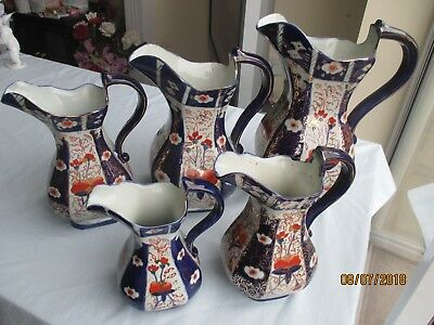 Very Large Gaudy Welsh Graduated Pitcher Ensemble