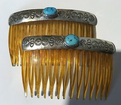 Vintage Hallmarked Navajo Indian Sterling Silver Turquoise Pair Of Hair Combs