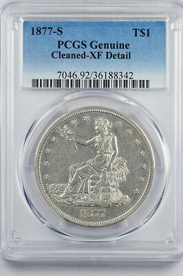 1877-S Trade Dollar US silver $1 PCGS Genuine XF Detail (Cleaned)