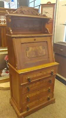 Estate 1800's Victorian Drop Front Secretary Writing Desk Burl Wood & Inlays