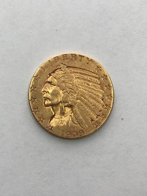 Ungraded 1909-D 5$ Indian Head Gold Coin.!! ! NR.!!