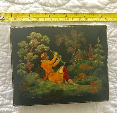 Authentic Vintage Hand-painted Russian Lacquer Box (signed and dated)