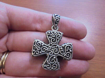 Sterling silver chunky spiral celtic knot swirl iron cross pendant 18.8 grams