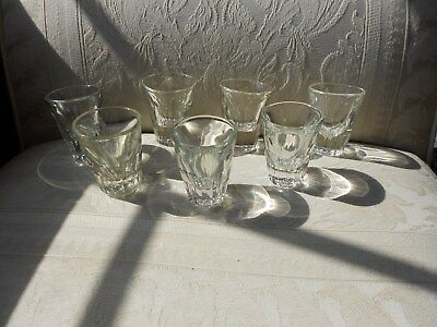 Vintage Clear Glass heavy duty Shot Glasses-lot of 7