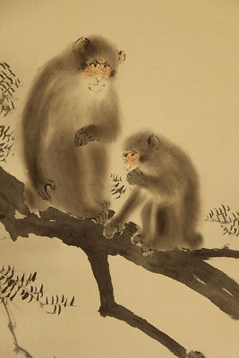 """JAPANESE HANGING SCROLL ART Painting """"Monkey"""" Asian antique  #E3874"""