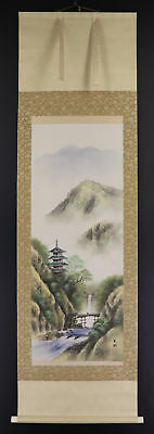 JAPANESE HANGING SCROLL ART Painting Scenery  #E3884