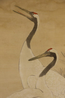 """JAPANESE HANGING SCROLL ART Painting """"Cranes"""" Asian antique  #E3886"""