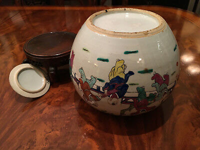 An Excellent Chinese Antique Famille Rose Porcelain Jar with Wooden Stand.
