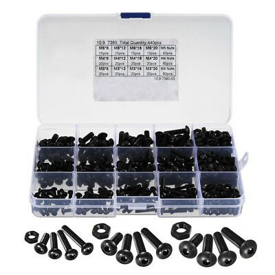 440pcs M3 M4 M5 Alloy Steel Hex Socket Button Head Cap Bolts Screws Nuts Set T2K