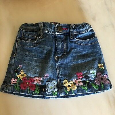 Babygap Girl's Denim Jean Skirt Embroidered Flowers Size 3 Years Toddler