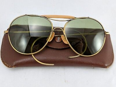 Rockglas WW2 Aviator Sunglasses Vintage US Air Force Pilot with Case