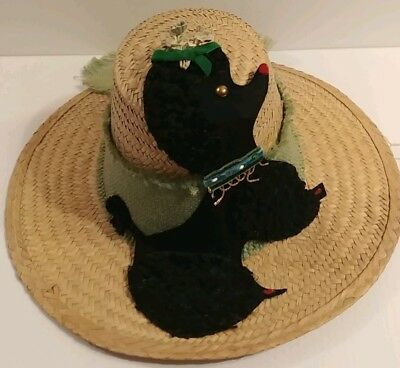 Vintage 1950's Hadley House Ladies Straw Cone Sun Hat Poodle millinery flowers