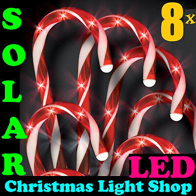 Pack of 8 Solar LED Red & White Candy Canes Outdoor Christmas Path Lights NEW