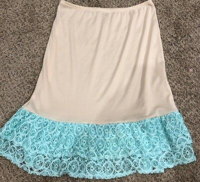 Womens Lace Extender Slip Teal Green Aqua Size Large