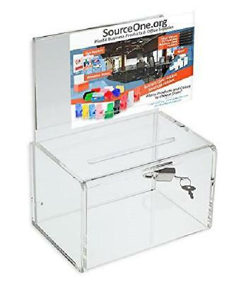 Small Donation Box Acrylic 5 Inch Wide Deluxe Oblong Ad Frame Free Lock Clear