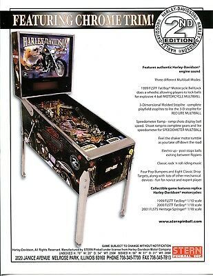 Harley Davidson 2nd Edition Pinball Flyer Mint / Ad