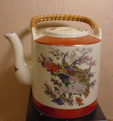 Sathuma Teapot decorated with Peacocks & Flowers  Made in Japan