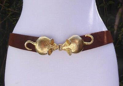 Vtg.1974 Mimi Di N Gold Tone Metal Mice Buckle w/faux. Brown Suede Leather Belt