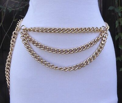 "Vtg.  Gold Tone Metal Triple Chain Swag Belt w/Coin Pendant  37"" long"