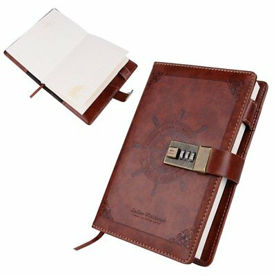 B6 Retro Brown Leather Notebook Journal Blank Diary Book with Combination Lock