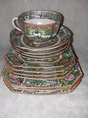 Antique Hand Painted Chinese Porcelain 12 piece set