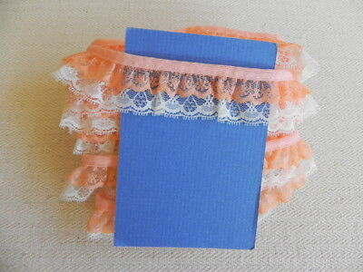 Card of New Gathered Lace - Peach & White