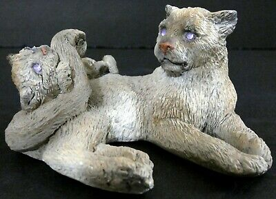 "Mountain Lion Cub Cougar Figurine with Pink Rhinestone Eyes 3.5"" L Sculpture"