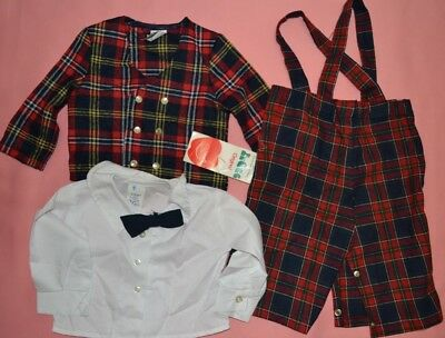 Vintage R-Gee Original Child Toddler Boy Plaid Outfit Shirt Jacket Overalls 12mo
