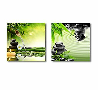 "Wall26 - Zen Basalt Stones and Bamboo 2 Panel ing - CVS - 12""x12"" x 2 Panels"