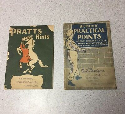 2 Antique Veterinarian Horse Animal Books Pratts Hints Dr Hess Practical Points