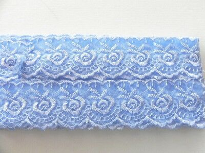 Blue Silky embroidered Lace - 4cm