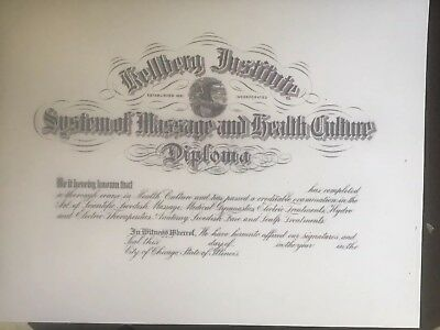 Massage School And Health Certificate. Diploma Comes Blank Fill In Own Info