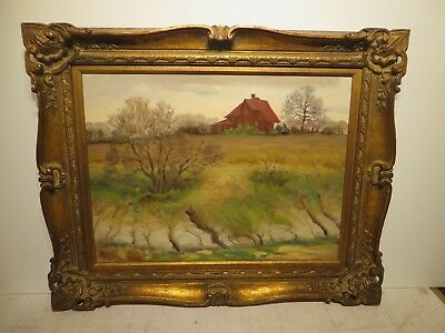 "18x24 org. 1950 oil painting by Ramon Mitchell Froman of ""Creekside Farm House"""