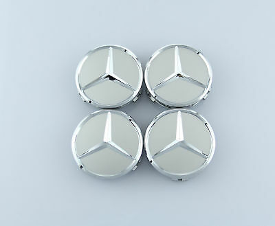 Set of 4 Genuine FIT FOR Mercedes Benz Silver Chrome Star Wheel Center Caps 75mm