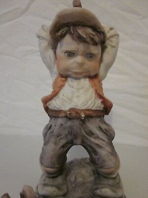 GIUSEPPE GULLIVERS WORLD BOY WITH AXE CHOPPING WOOD SIGNED w/ N TRADEMARK