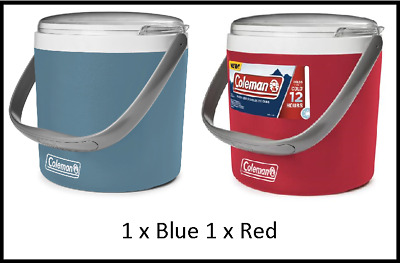 2 x COLEMAN PARTY COOLER - 1 x Blue 1 x Red