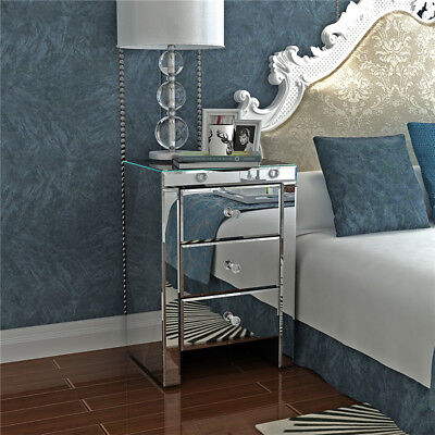Mirrored Furniture Glass 3 Drawers Bedside Cabinet Table Bedroom Nightstand UK