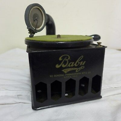"""Antique Portable 78 Rpm """"baby """" Phonograph Victrola Complete With Reproducer And"""