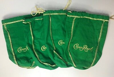 Crown Royal Green Apple Bags Lot 4 Gold Drawstring Gold Embroidery