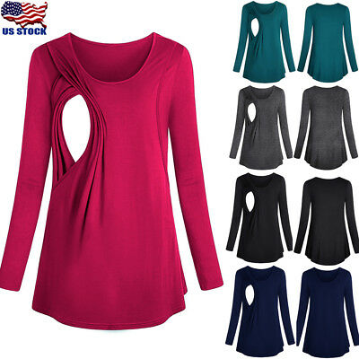 Long Sleeve Breast Feeding Nursing Tops Maternity Clothes Pregnant Womens S-2XL