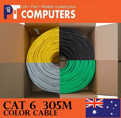 Multi Color 305m Cat6 RJ45 UTP Solid Ethernet Network Cable Cord Lead  6 option