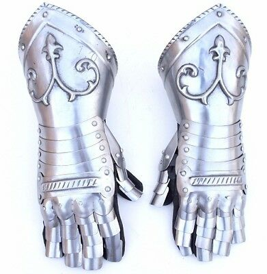 New-Super-Medieval-Stainless-Steel-Hand-Gloves-Knight-Armor-SCA-LARP-Adult-SizeB
