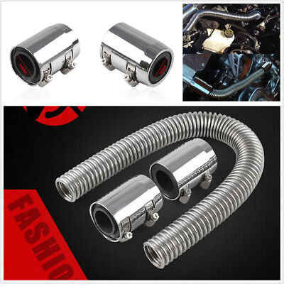 Universal 36inch Stainless Steel Radiator Flexible Coolant Water Hose Kit Chrome