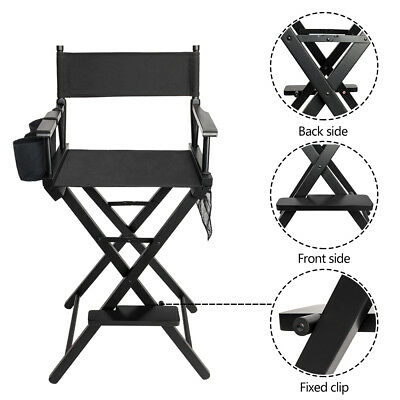 Professional Makeup Director Artist Chair Foldable w/ Bottle Holder Storage Bags