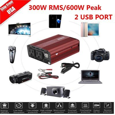 300W CAR POWER Inverter DC 12V To AC 110V 60Hz Dual USB 2 1A