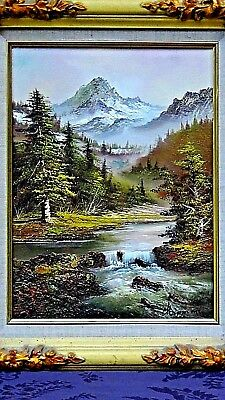 Antique Oil On Canvas Painting Of Mountain Scene W/ A River,signed