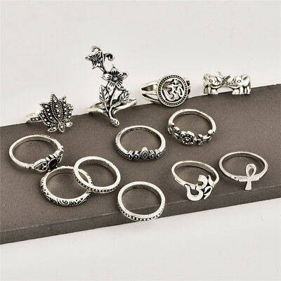 Bohemian Female Rose Ancient Silver Elephant Cross Joint Ring Set New Popular BE