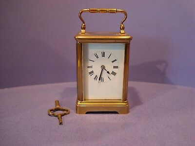 French Chiming Brass Carriage Clock With Key, Needs Some Tlc Uncleaned Condition